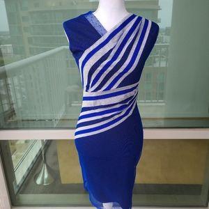 Reiss Blue Mesh Dress with Grey Stripes 2